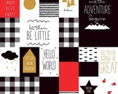 CLEARANCE: Let Them Be Little Main Black Sparkle by Simple Simon & Company for Riley Blake