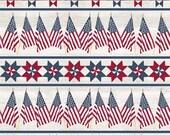Let Freedom Soar Border Stripe in Off White by Tara Reed for Riley Blake Designs