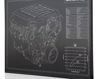GM 6.2 L LT1 Engine (Corvette) Laser Engraved Wall Art Poster. Engraved On  Metal, Acrylic Or Wood. Custom Car Art, Poster, Sign.