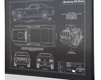 Mustang blueprint etsy ford mustang boss 429 laser engraved wall art blueprint sign artwork to make the best auto gifts ultimate decor for the garage or office malvernweather Gallery