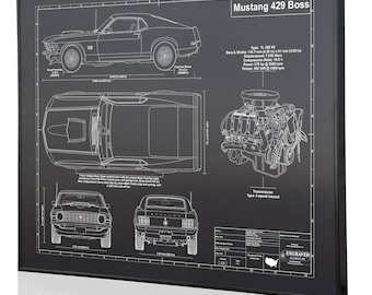 Ford Mustang Boss 429 Laser Engraved Wall Art. Blueprint Sign Artwork To  Make The Best Auto Gifts! Ultimate Decor For The Garage Or Office!