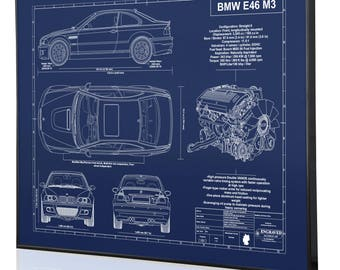 Car blueprints etsy bmw e46 m3 laser engraved wall art poster blueprint sign artwork to make the best auto gifts ultimate decor for the garage or office malvernweather Image collections