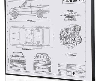 Bmw blueprint etsy bmw e30 325i laser engraved wall art poster blueprint sign artwork to make the best auto gifts ultimate decor for the garage or office malvernweather Choice Image