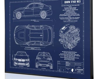 Bmw e9 30 cs laser engraved wall art poster blueprint sign bmw f80 m3 laser engraved wall art poster blueprint sign artwork to make the best auto gifts ultimate decor for the garage or office malvernweather Gallery