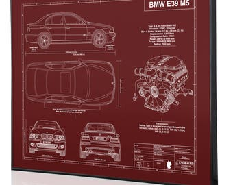 Car blueprints etsy bmw e39 m5 laser engraved wall art poster blueprint sign artwork to make the best auto gifts ultimate decor for the garage or office malvernweather Image collections
