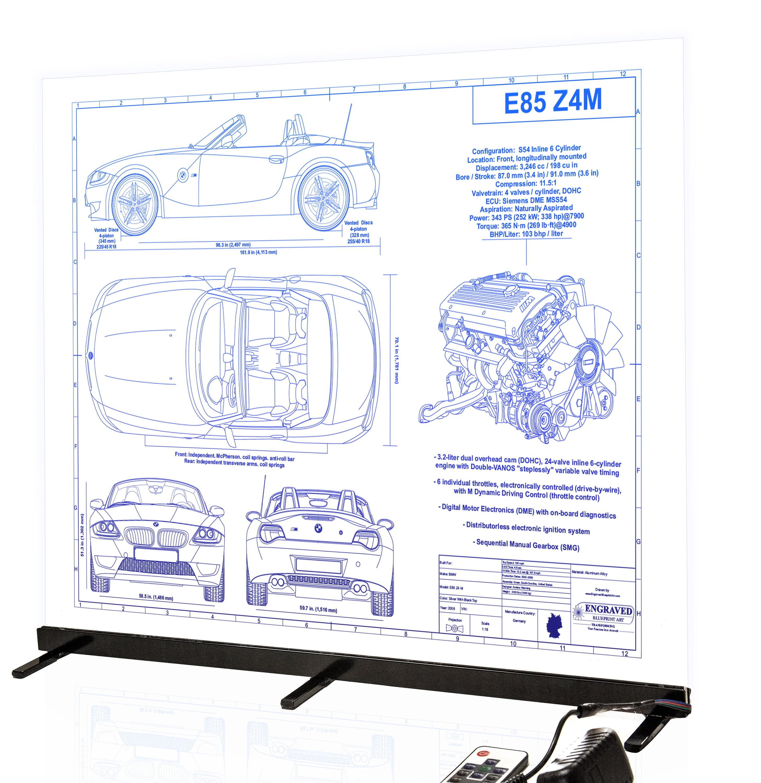 Bmw Z4 M Laser Engraved Wall Art Poster Blueprint Sign Etsy 302 Engine Valve Timing Diagram