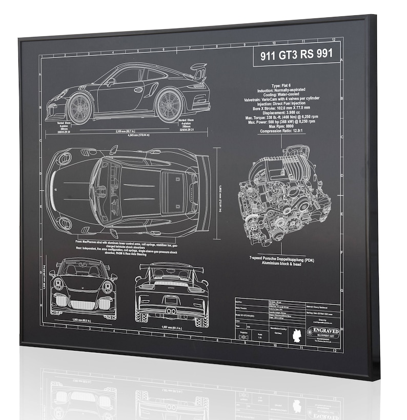 963b1f58644 Porsche 911 GT3 RS 991 Laser Engraved Wall Art Poster. | Etsy