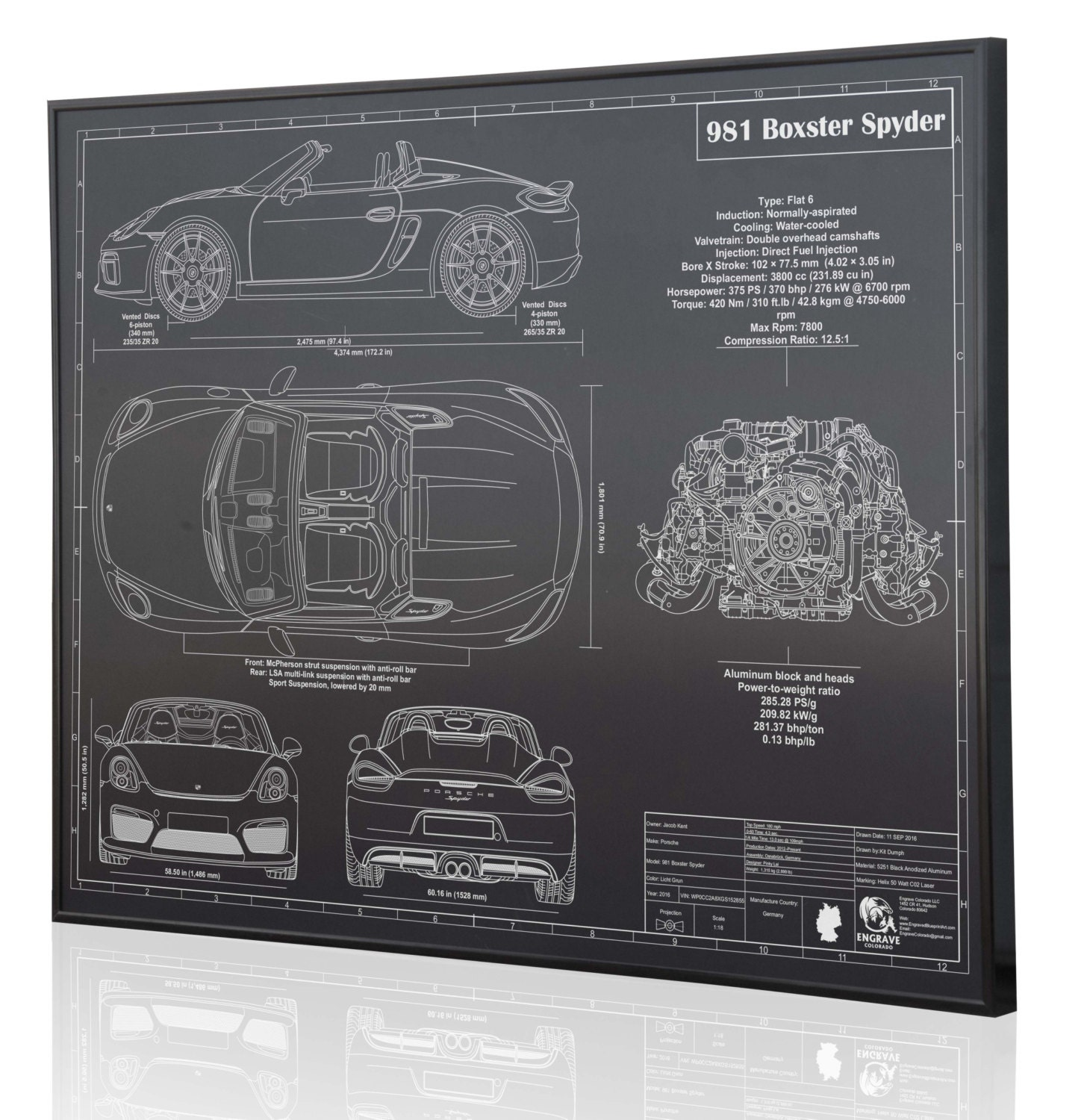 Porsche Boxster Spyder 981 Laser Engraved Wall Art Poster Etsy Engine Diagram On Metal Acrylic Or Wood Custom Car Sign