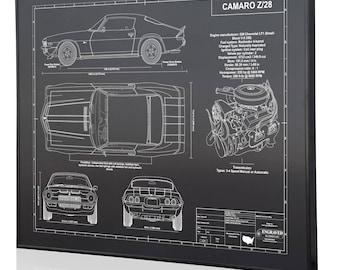 Custom blueprint etsy chevrolet camaro z28 2nd generation laser engraved wall art blueprint artwork malvernweather Gallery
