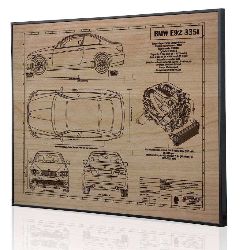 BMW E92 335i Laser Engraved Wall Art Poster  Blueprint Sign artwork to make  the best auto gifts! Ultimate decor for the garage or office!