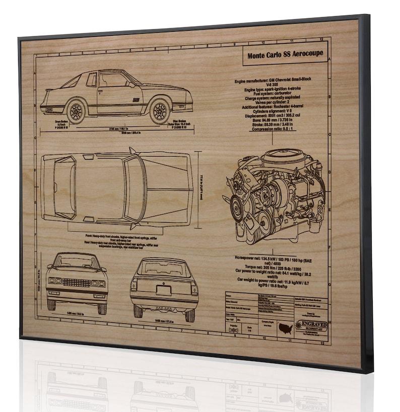 Chevrolet Monte Carlo SS Aerocoupe Laser Engraved Wall Art, Blueprint  Artwork, Custom Car Art, Poster, Sign  Great Car Guy Gift, Garage