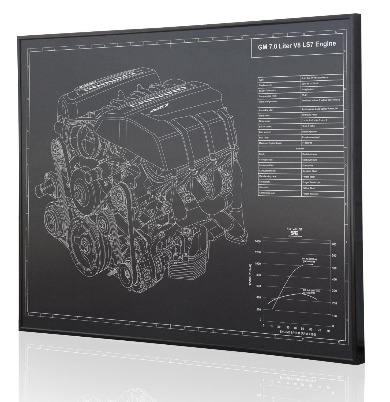 GM 7.0 LS7 V8 Engine (Z28) Laser Engraved Wall Art Poster. Engraved on  Metal, Acrylic or Wood. Custom Car Art, Poster, Sign.
