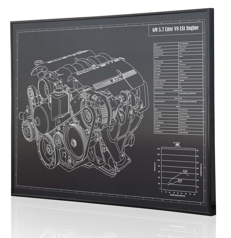 GM 5.7 L LS1 V8 Engine (Corvette) Laser Engraved Wall Art Poster. Engraved  on Metal, Acrylic or Wood. Custom Car Art, Poster, Sign.