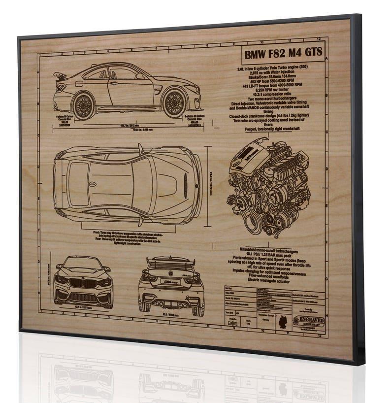 BMW F82 M4 GTS Laser Engraved Wall Art Poster. Blueprint Sign artwork F Bmw Seat Wiring Diagram on
