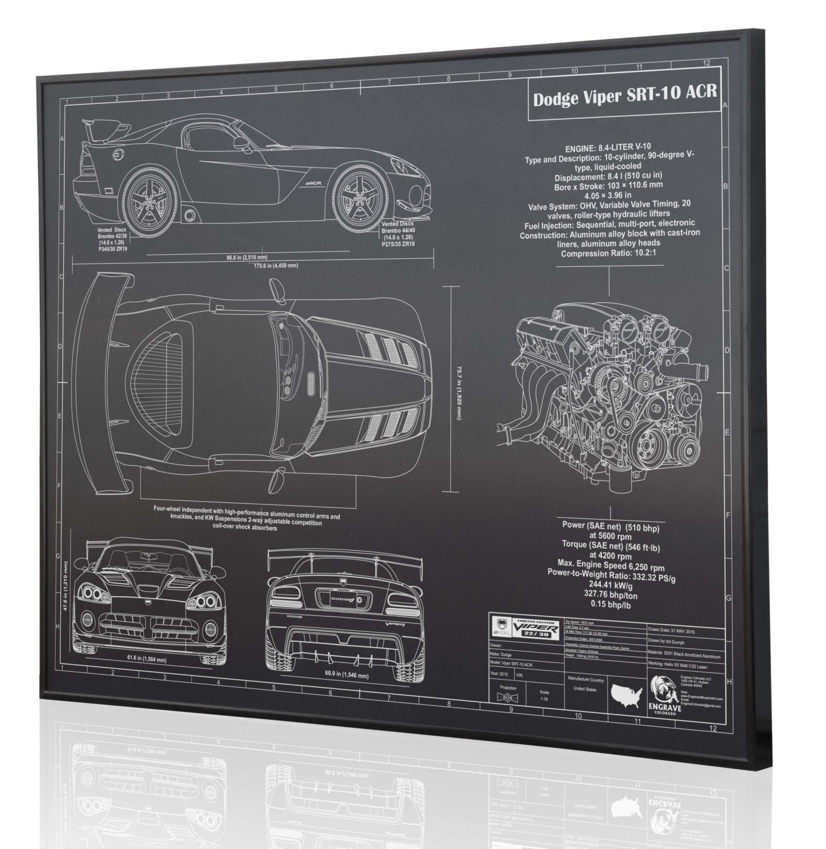 Dodge Viper Srt 10 Acr Laser Engraved Wall Art Poster 3 Liter Engine Diagram Zoom