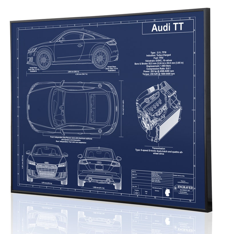 Audi Tt Laser Engraved Wall Art Engraved On Metal Acrylic Or Wood Custom Car Art Poster Sign Great Audi Car Gift Audi Enthusiasts