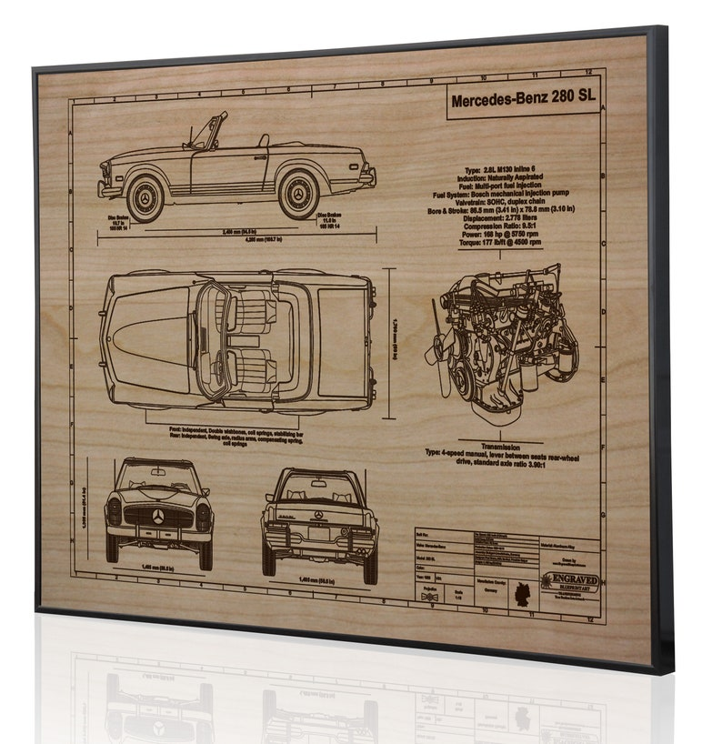 Mercedes Auto Gift Poster Engraved on Metal Sign Mercedes-Benz 280 ...