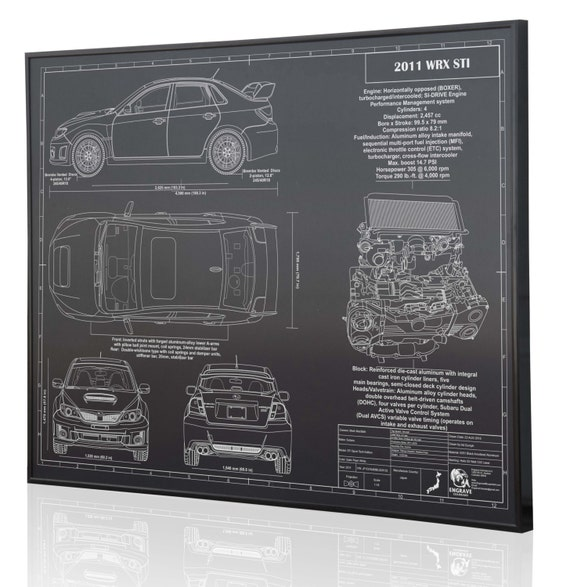 sc 1 st  Etsy & Subaru 2011 WRX STI Laser Engraved Wall Art Poster. Engraved
