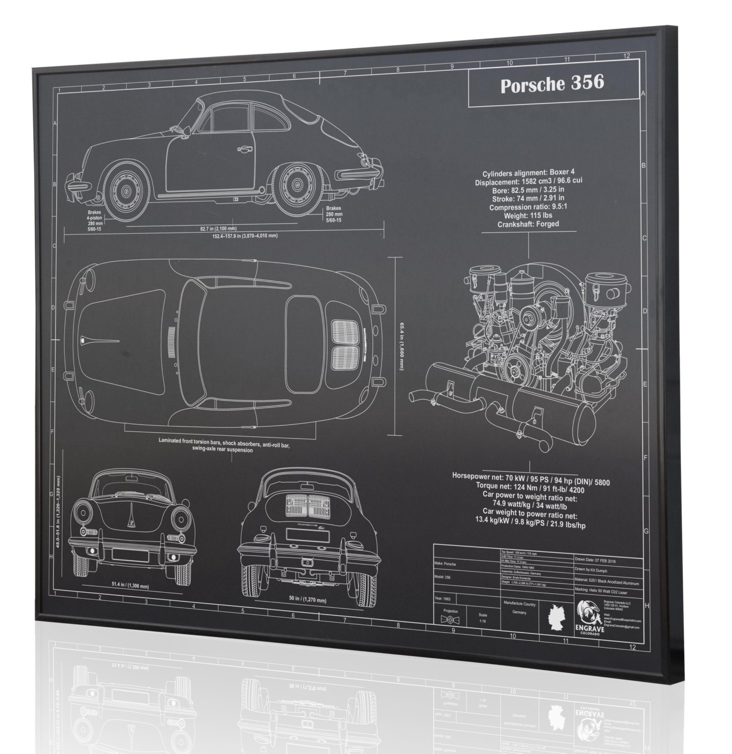 4 Cylinder Engine Diagram Posters Trusted Wiring Diagrams Porsche 356 Laser Engraved Wall Art Poster On Metal Etsy 8