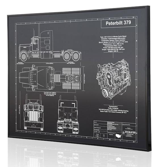 Peterbilt 379 laser engraved wall art blueprint sign artwork etsy image 0 malvernweather Gallery