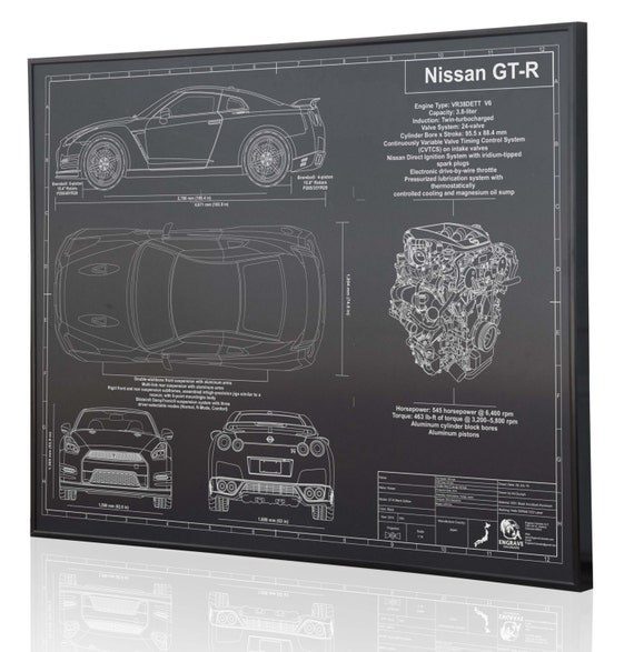 Nissan GT-R Laser gravé affiche d'Art mural. Gravé sur métal, acrylique ou  en bois. Voiture personnalisée Art, Poster, signe. Voiture grand cadeau !