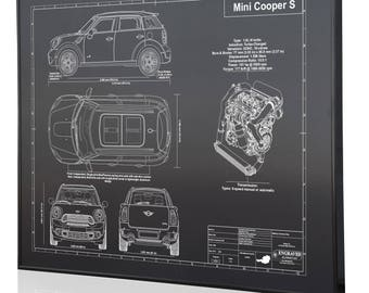 Mini car blueprint etsy mini cooper s countryman all4 laser engraved wall art engraved on metal acrylic or malvernweather Gallery
