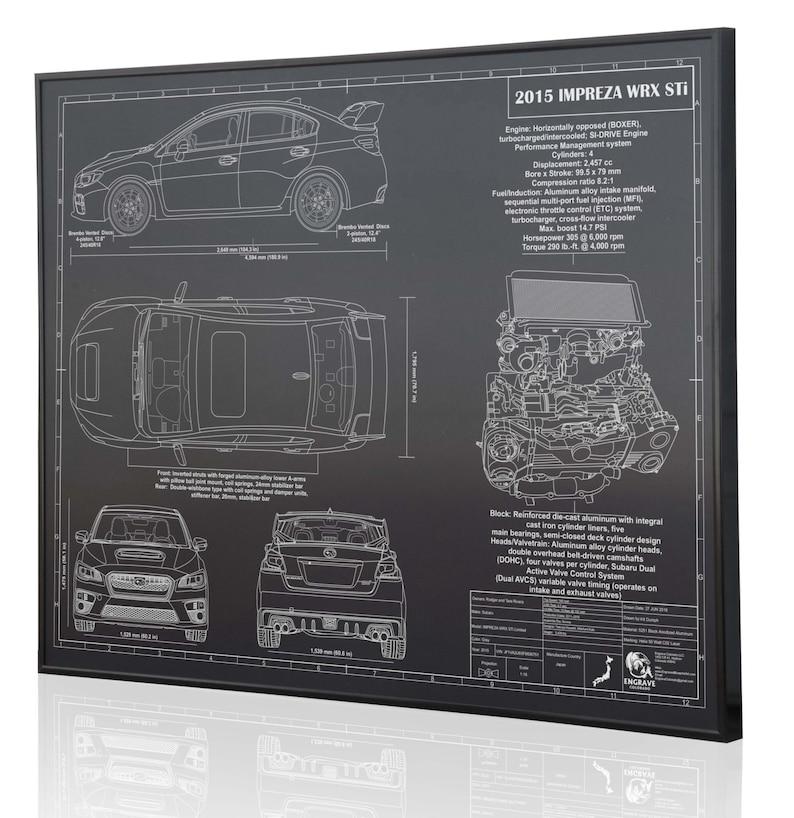 Subaru Impreza 2015 WRX STI Laser Engraved Wall Art Poster