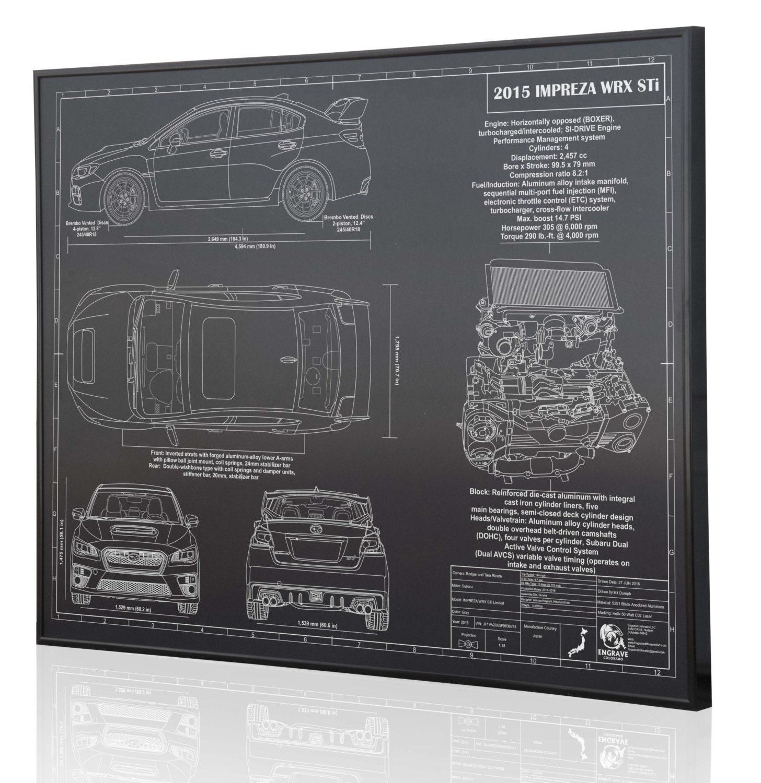 Subaru Impreza 2015 WRX STI Laser Engraved Wall Art Poster  Engraved on  Metal, Acrylic or Wood  Custom car Art, Poster, Sign  Auto Gift