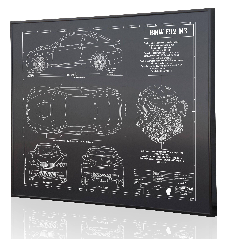 Bmw E92 M3 Laser Engraved Wall Art Poster Blueprint Sign Etsy 4 V8 Engine Diagram