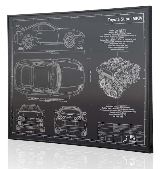 Toyota Supra Mkiv Laser Engraved Wall Art Poster Engraved