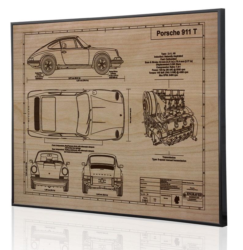 Porsche 911 T 1973 Laser Engraved Metal Wall Art Car Wall Art ...