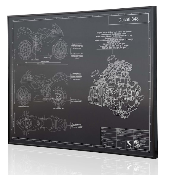 Ducati 848 Laser Engraved Wall Art Poster Engraved On Metal Etsy