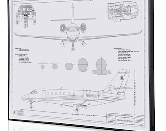 Cessna wall art etsy cessna citation sovereign personalized engraved blueprint artwork custom artwork for aviation and cessna enthusiasts malvernweather Gallery