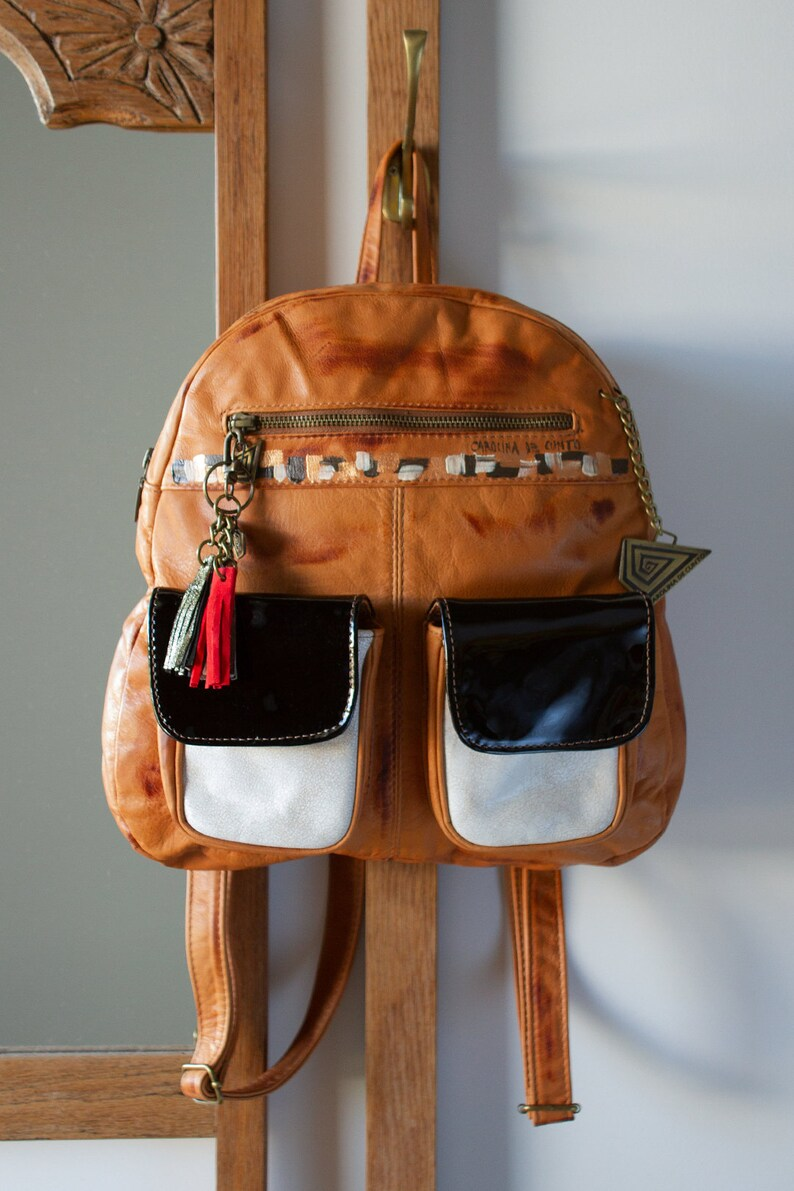 Jimena Terracotta B/&W Leather Backpack Handpainted Art Free International Shipping!! Carolina De Cunto