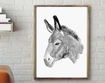 Donkey portrait Art - Donkey painting - print - Animal Painting - donkey watercolor - asian style - donkey illustration - donkey image