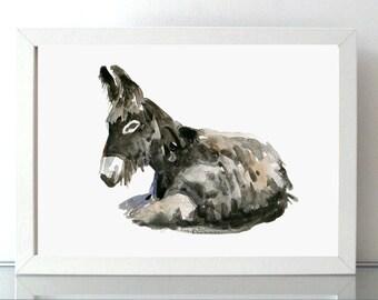 Donkey Art - Donkey painting - giclee print - Animal Painting - donkey watercolor - asian style - donkey illustration - donkey image