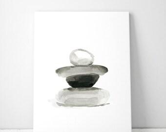Zen Pebbles Art  - zen stones watercolor - giclee print - zen art pebbles painting - black ink - sumi stones - pebbles watercolor