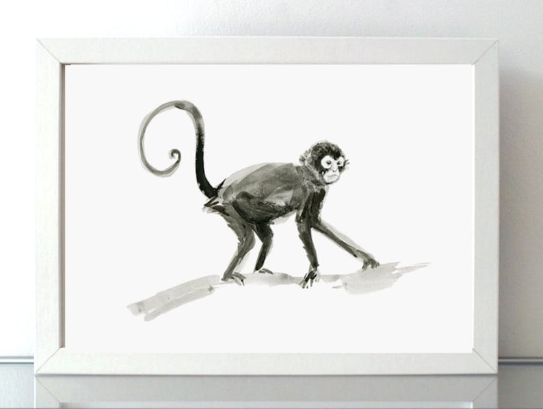 0e46cd33686 Monkey and black ink watercolor painting tail Monkey art