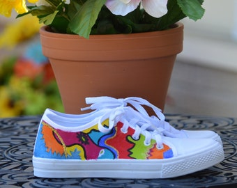 Handpainted sneakers, (size 7 womens),custom shoes,canvas sneakers, abstract art