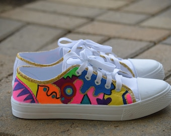 Handpainted sneakers, (size 8 womens),custom shoes,canvas sneakers, abstract art