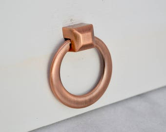 Copper Ring Drawer Knobs, Satin Copper, Drawer Pull, Cabinet Pull, Cabinet Knobs, Rose Gold