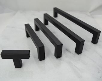 Modern, Square, Black Drawer Knobs, T Knob Handles, Drawer Pull, Black  Cabinet Pull, Cabinet Knobs, Long Drawer Handles, Cabinet Handles