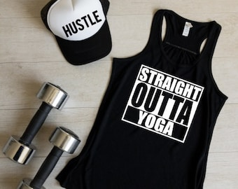 Straight Outta Yoga Tank Top, Yoga Tank Tops, Workout Clothes, Gym Tank Top, Yoga Apparel, Yoga Tees, Gifts For Yoga Teacher