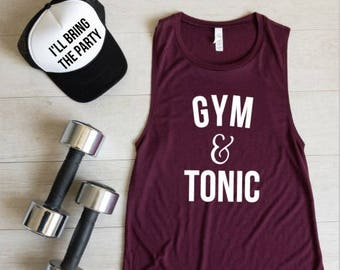 542d1da49 Workout Tank Top, Gym And Tonic, Fitness Muscle Shirt, Workout Clothes, Gym  Tank, Exercise Shirt, Gym & Tonic, Christmas Gift