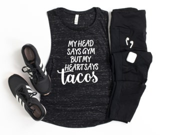 Funny Gym Tank, Gym and Tacos Workout Tanks, Funny Workout Tank Tops, Fitness Apparel, Funny  Muscle Shirt, Gym Humor, Taco Shirts