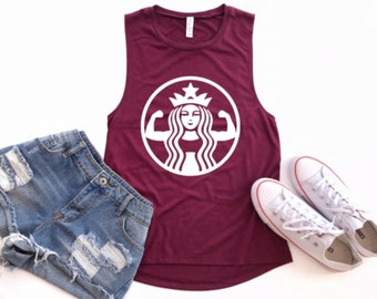 Starbuff Strong, Starbucks Parody, Coffee Shirt, Gym Shirts, Workout Clothes, Gym Tank Top, Fitness Apparel, Coffee Tank Tops,  Fit Pink