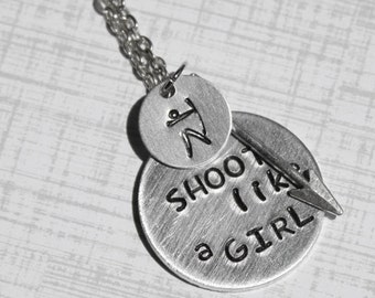Archery Necklace, Shoot Like A Girl Necklace, Archer Jewelry, Bow and Arrow, Bow Hunting, Gift for Archer Mom, Shooter Quiver Sports