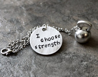 I Choose Strength Kettlebell Jewelry Kettlebell Necklace Girls Who Lift Strength Training Stamped Fitness Jewelry Cross Lift, Fit Girls