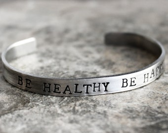 Be Healthy Be Happy Bracelet, B Healthy B Happy Bracelet, Motivational Jewelry, Eat Clean and Lose Weight, Happiness, Think Positive, Health
