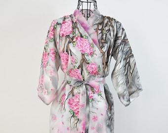 Handpainted silk kimono - Sakura -cherry blossom silk kimono-Silk Satin  Kimono Robe in pink and grey- Kaftan Robe-Floral Silk Kimono 29abf9bc2